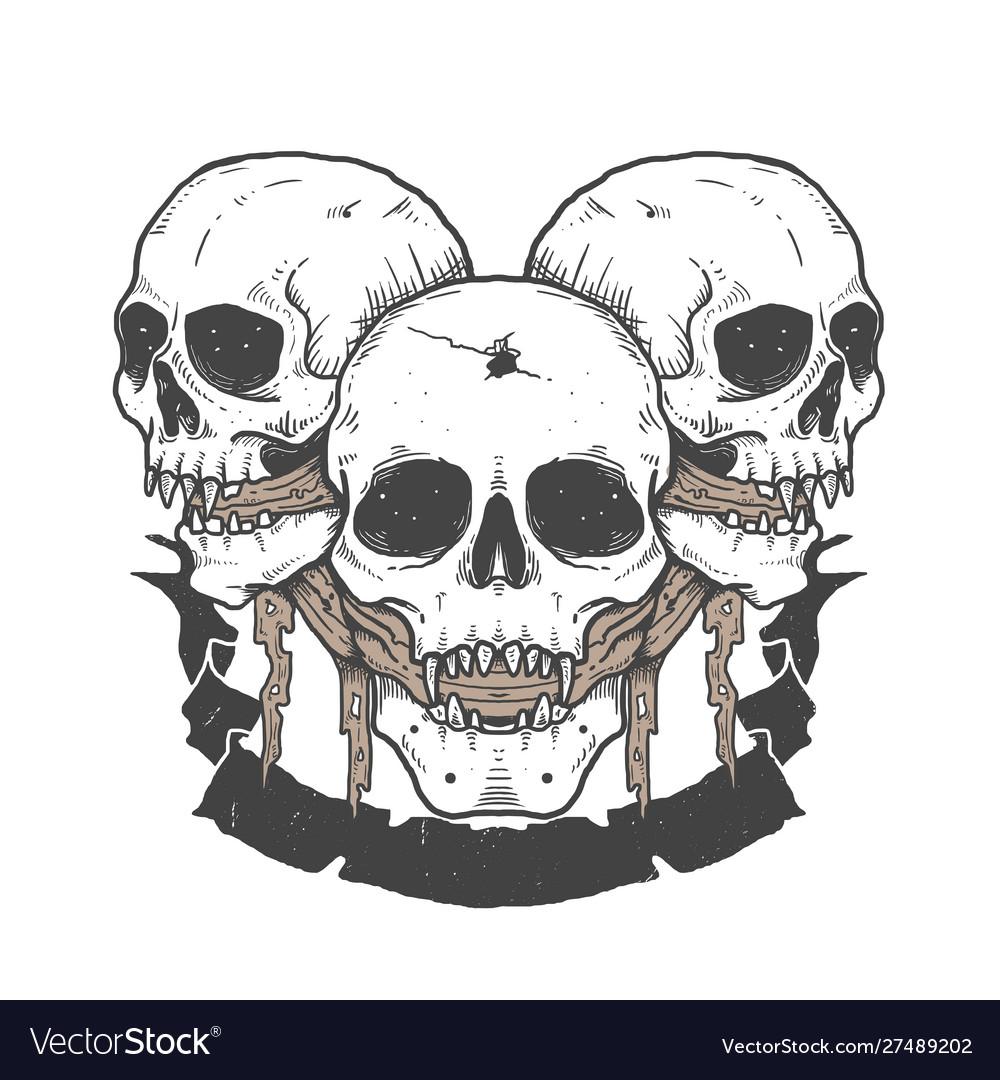 Triple skull halloween