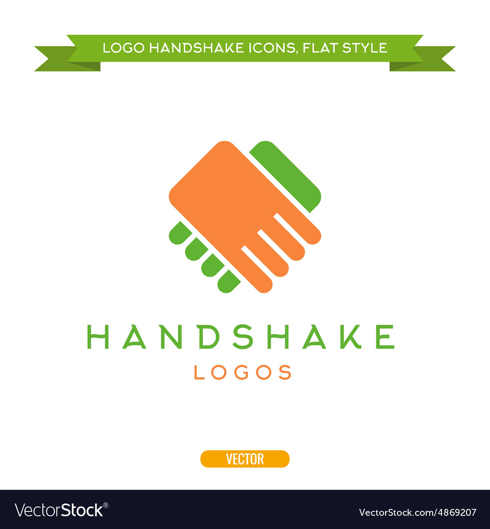 Abstract logo handshake flat style icon
