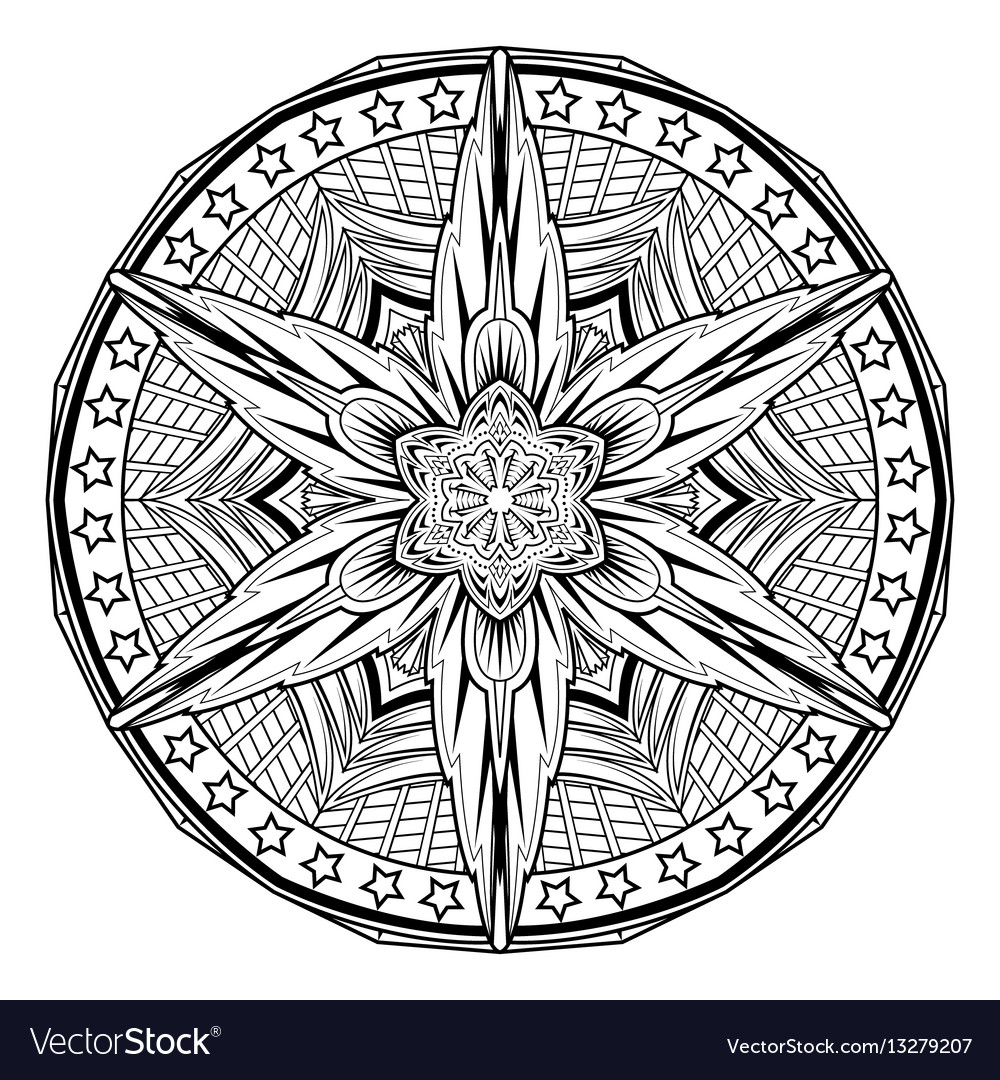 Abstract mandale coloring book page