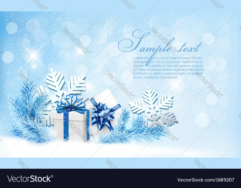 Christmas blue background with gift boxes and