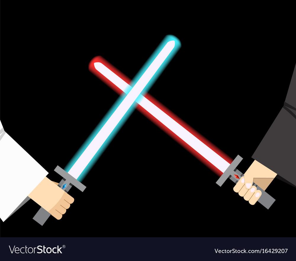 Combat of light sword vector image