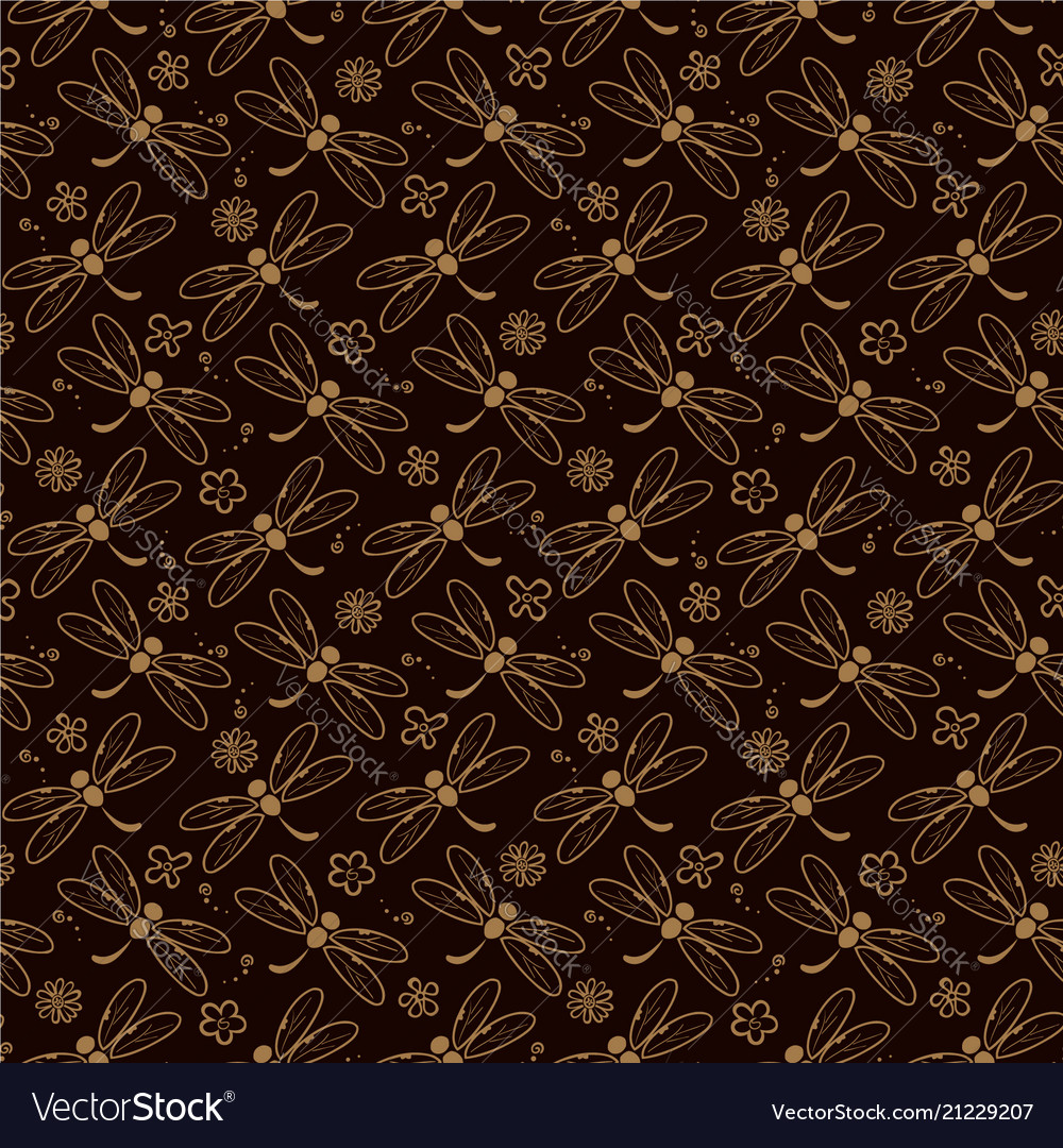 Dragonfly pattern background with orange color vector