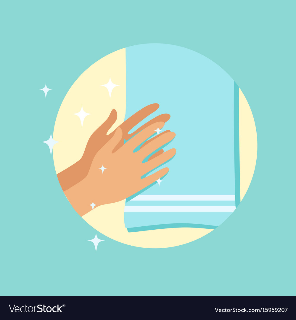 Drying hands with a towel round
