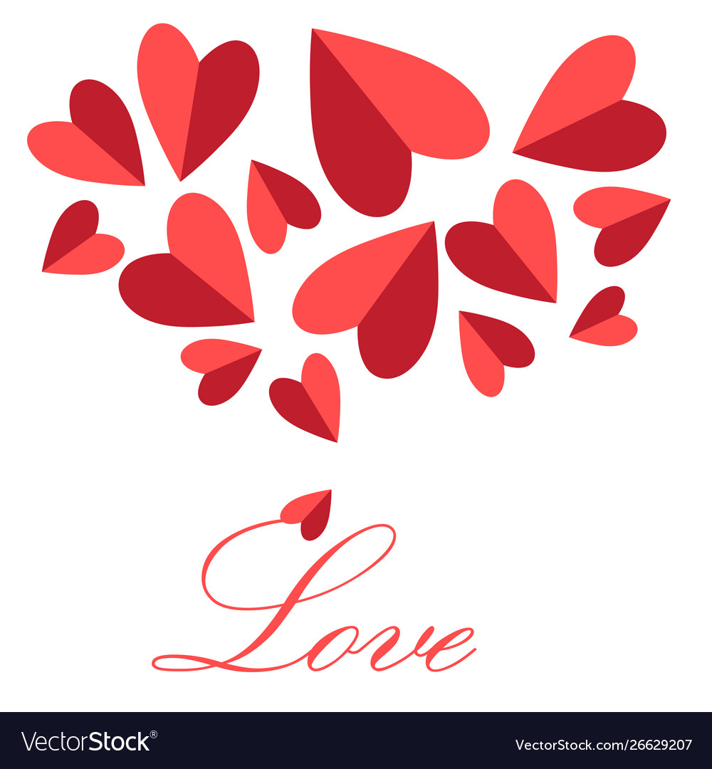 Festive greeting card for valentines day with red