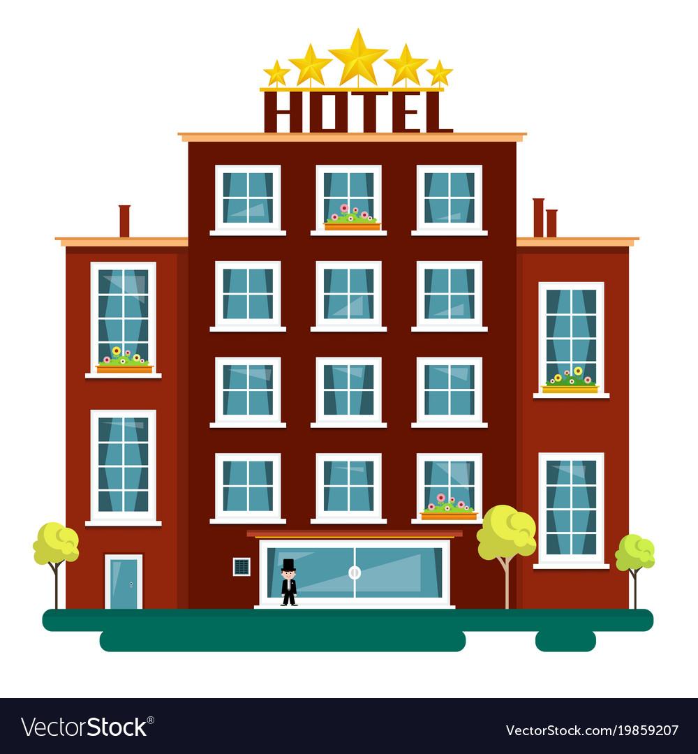 Flat design hotel isolated on white background