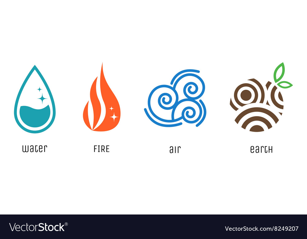 Four elements flat style symbols Water fire air