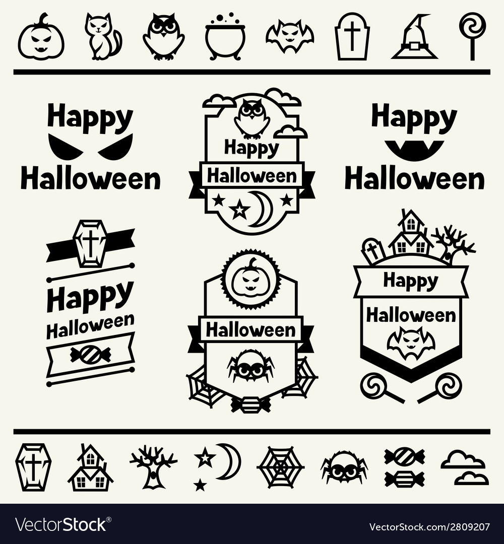 Happy halloween set of badges and icons