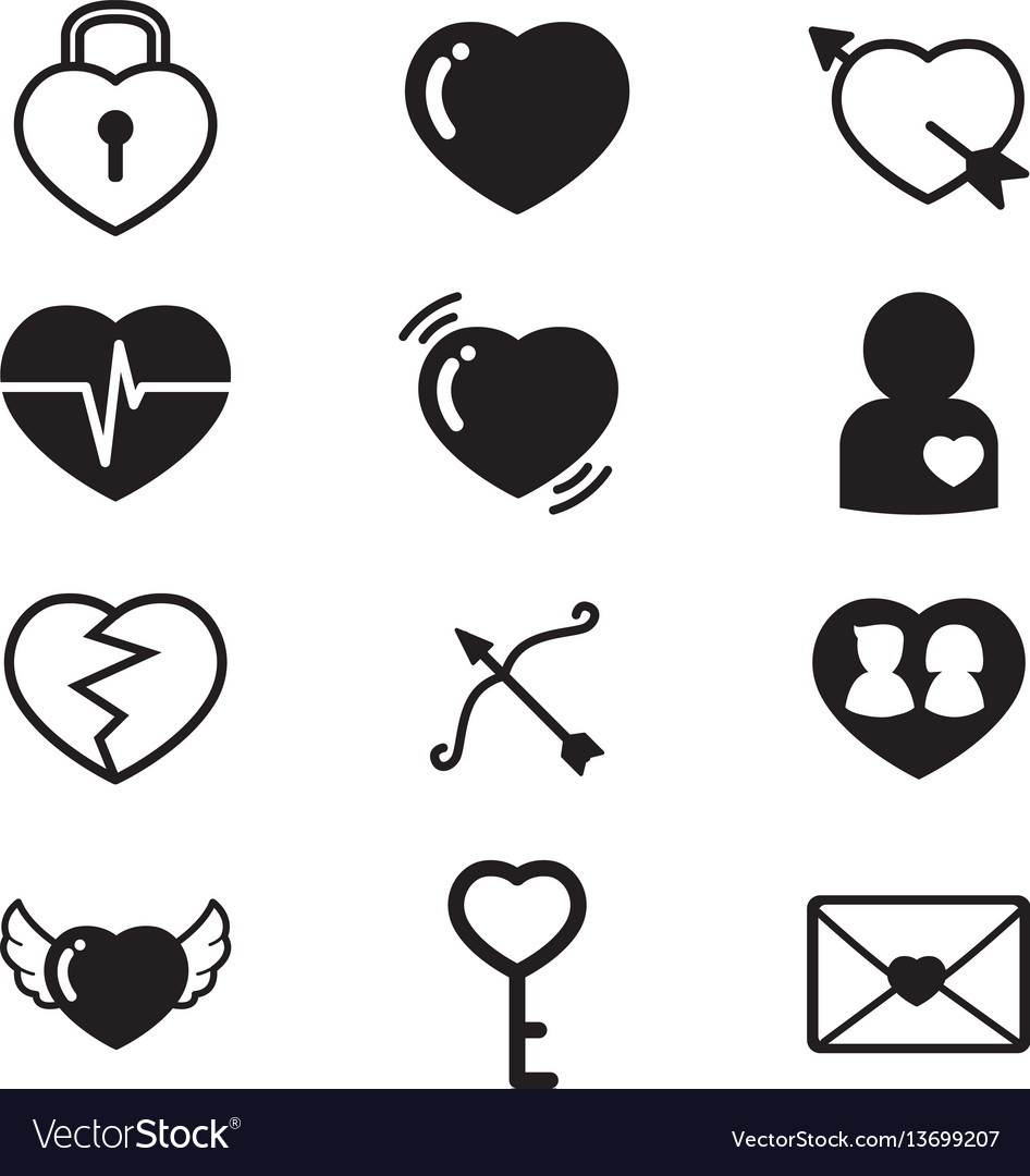 Heartslovercouple concept icons set