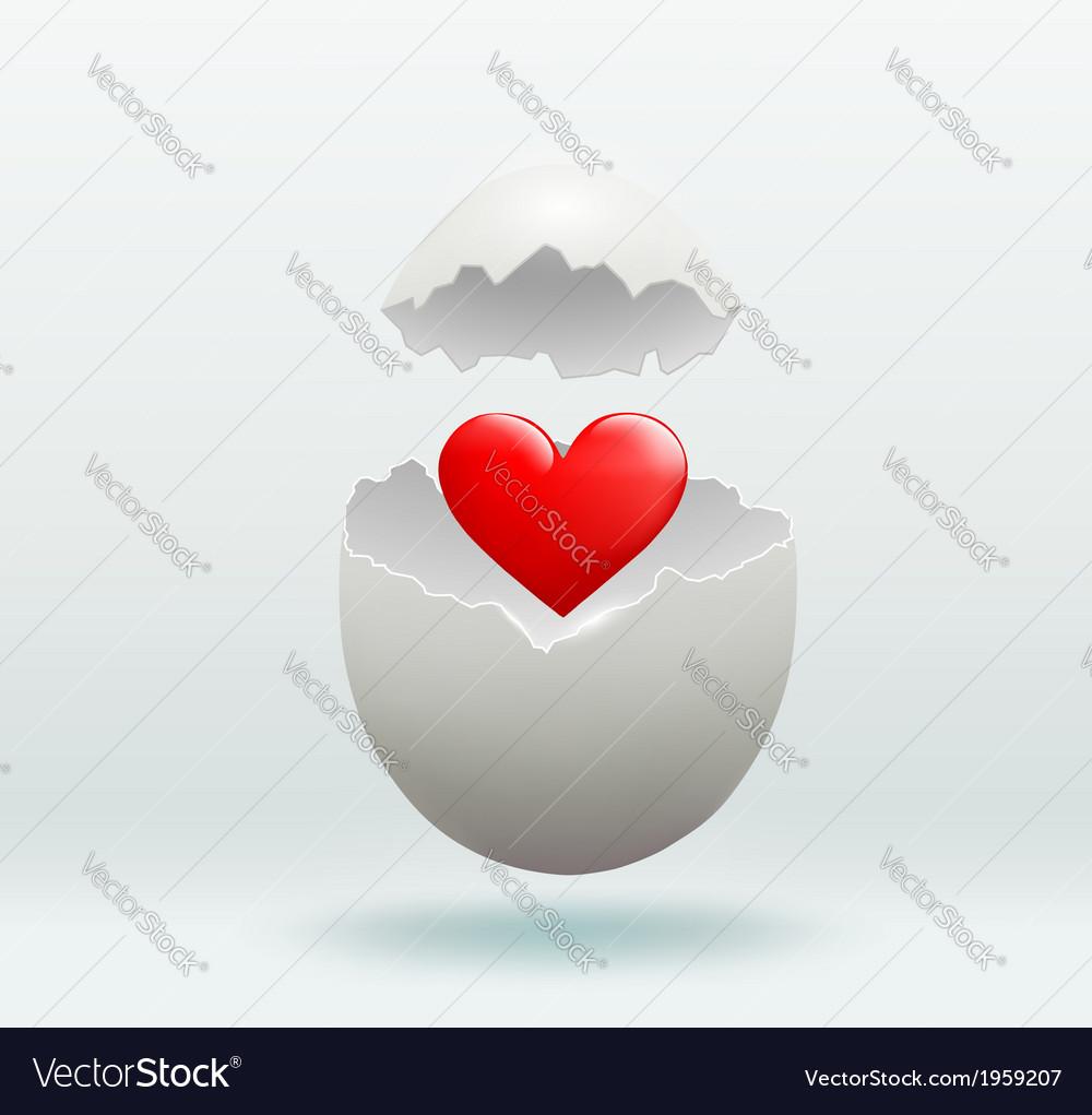 Red heart in the broken egg
