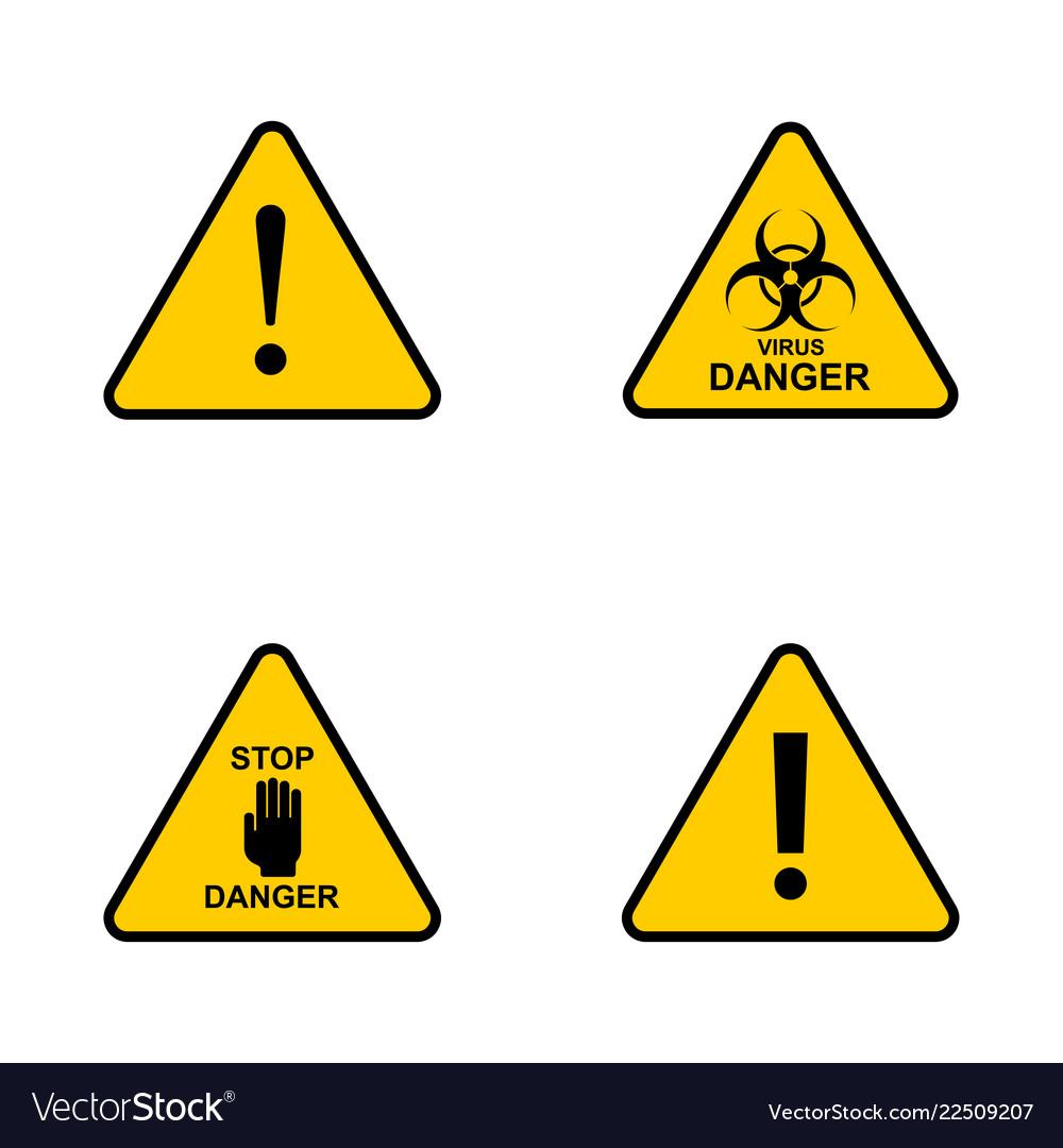 Set danger sign attention sign exclamation hazard
