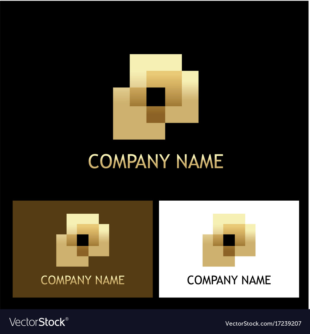 Square abstract gold company logo