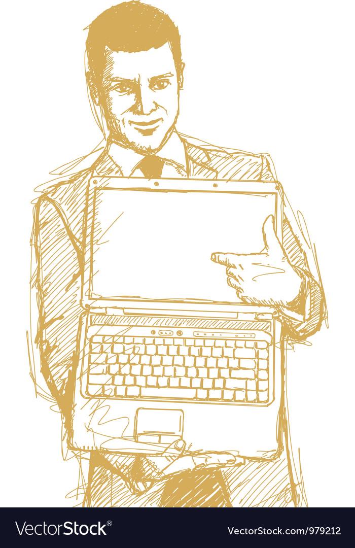 Businessman laptop finger vector image