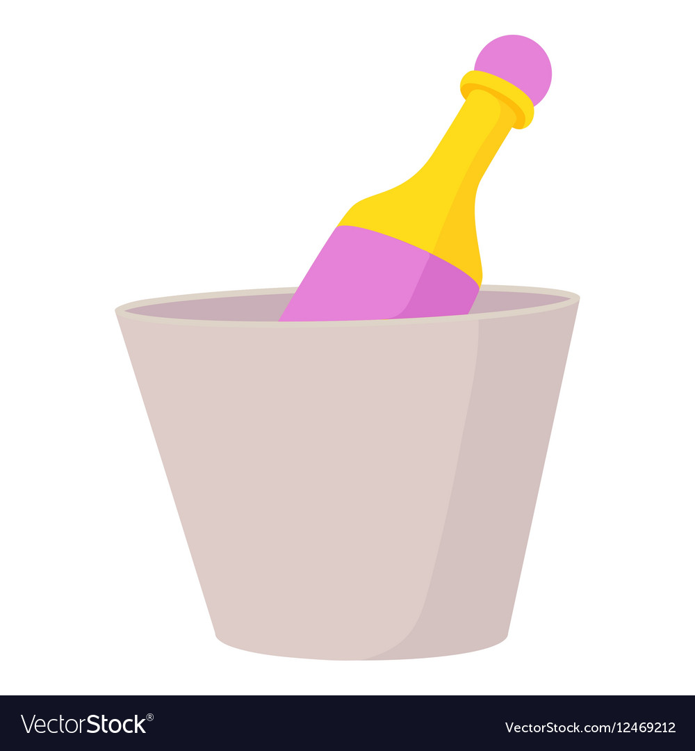 Champagne in bucket icon cartoon style
