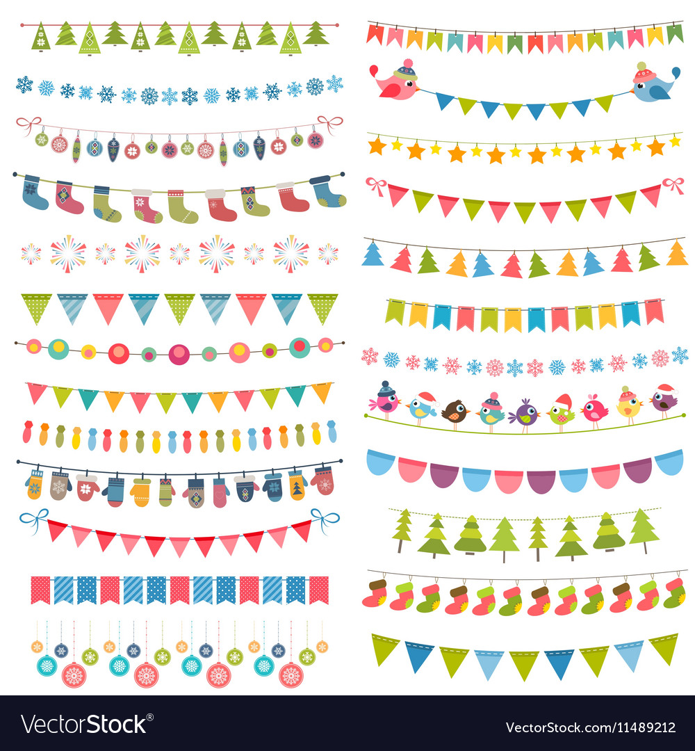 Christmas flags bunting and garlands isolated on