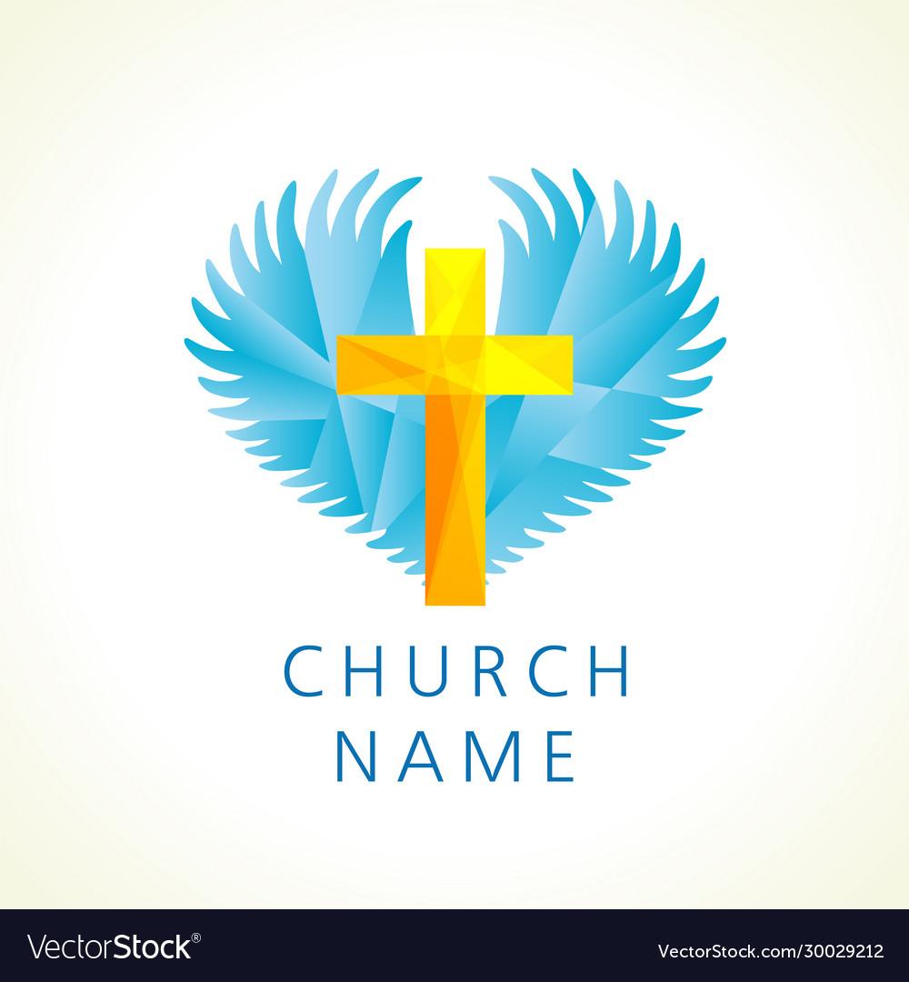 Church cross wings logo creative