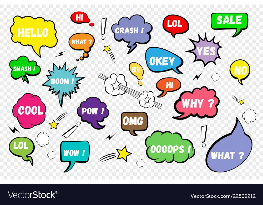 Comic speech bubbles set of color speech bubbles