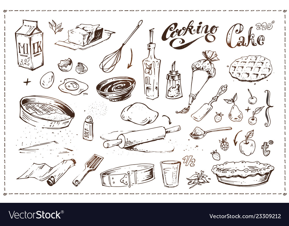 Hand drawn ink sketch icons cooking of cake