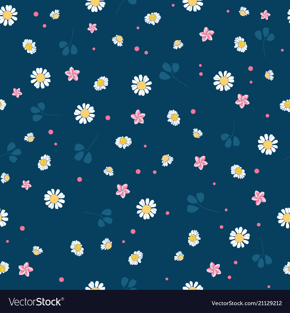 Lovely daisies ditsy seamless pattern design