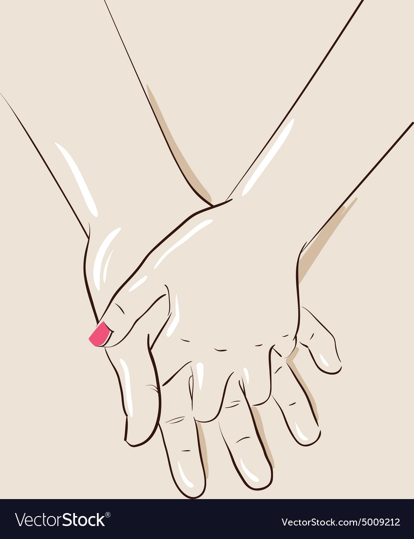 Man and woman couple holding hands vector image
