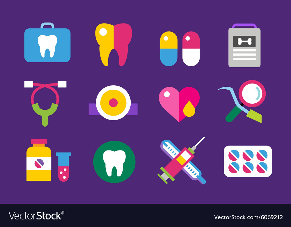 Medicine icons set Doctors tools for