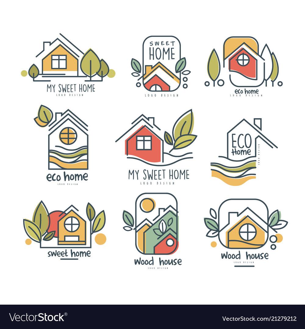 My sweet home logo set eco home wood house