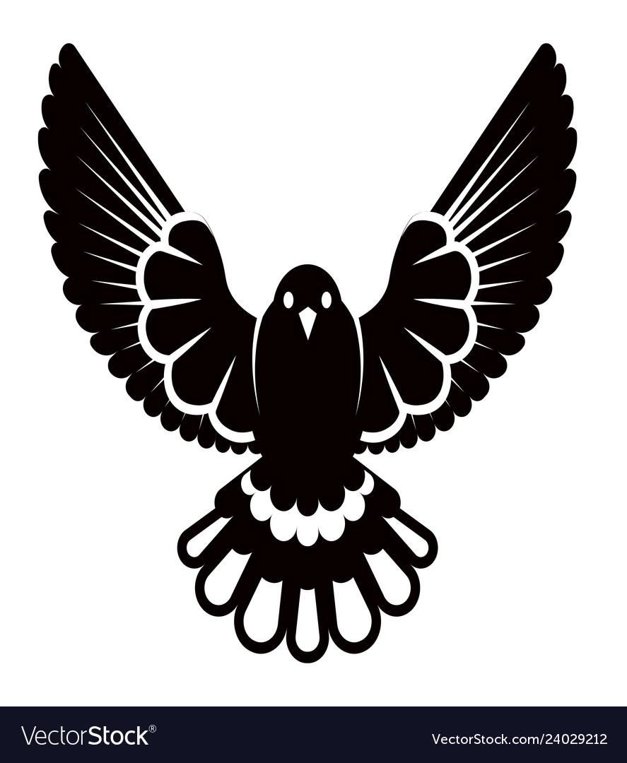 Pigeon or dove white bird siluette