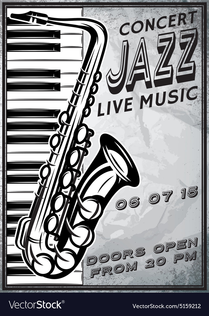 Retro poster with saxophone and piano for jazz