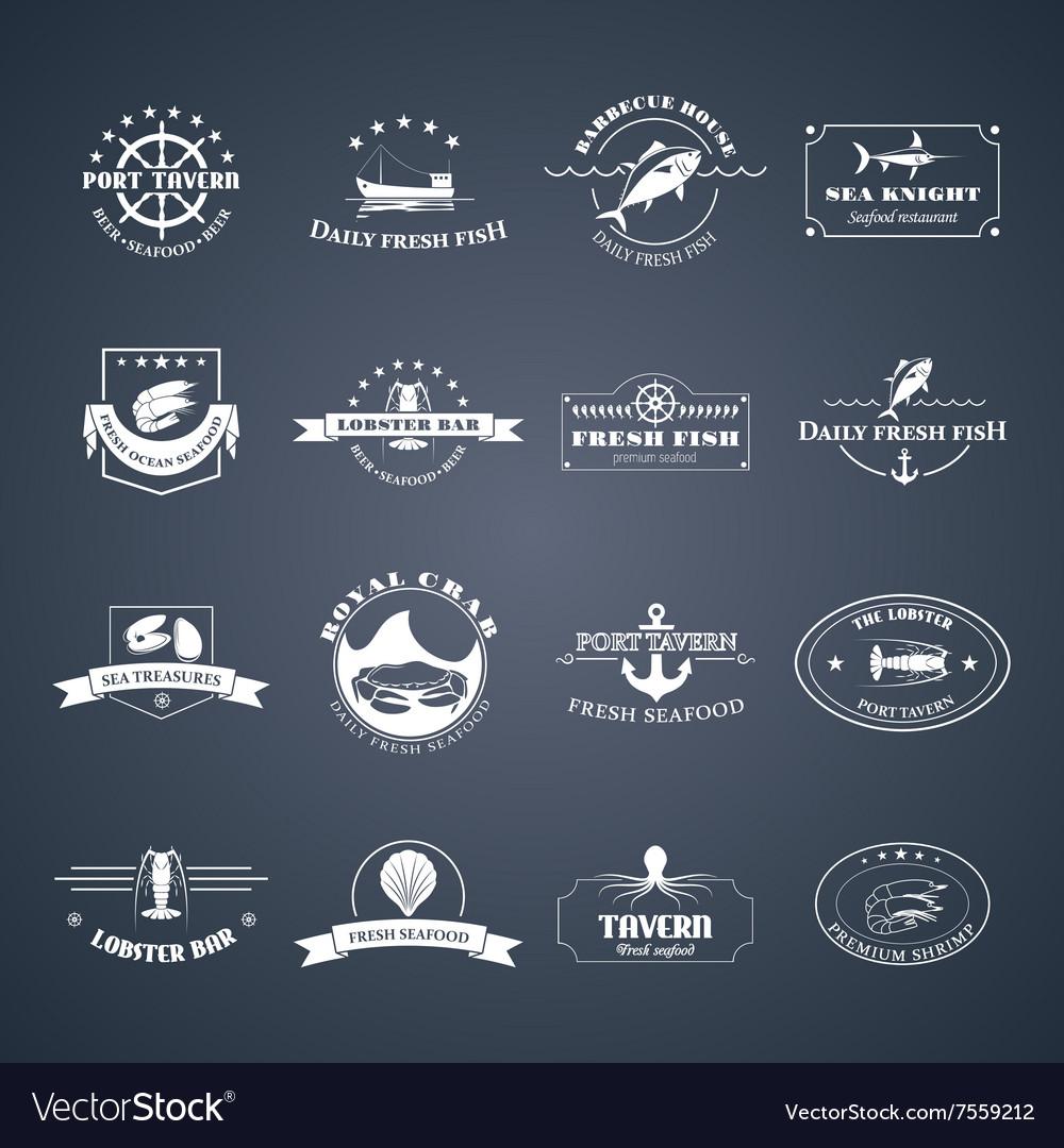 Set of seafood logos