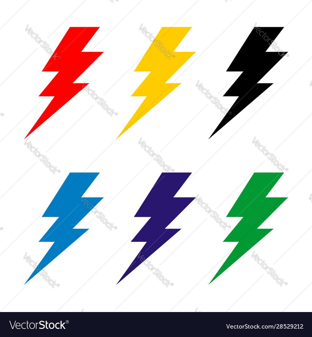 Set thunderbolt sign logo template design