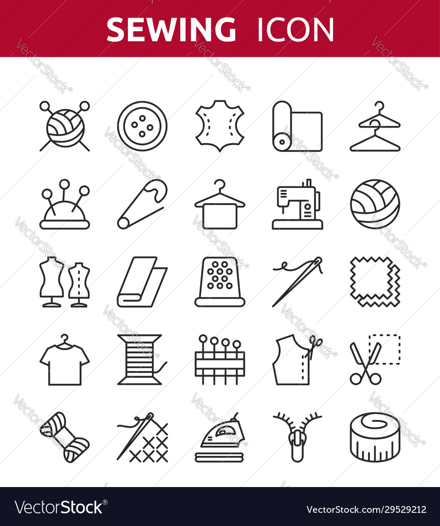 Sewing knitting and needlework line icons