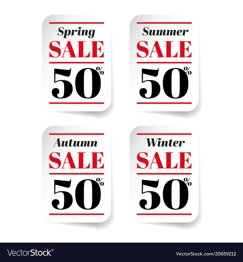 Spring summer autumn winter sale sticker vector image