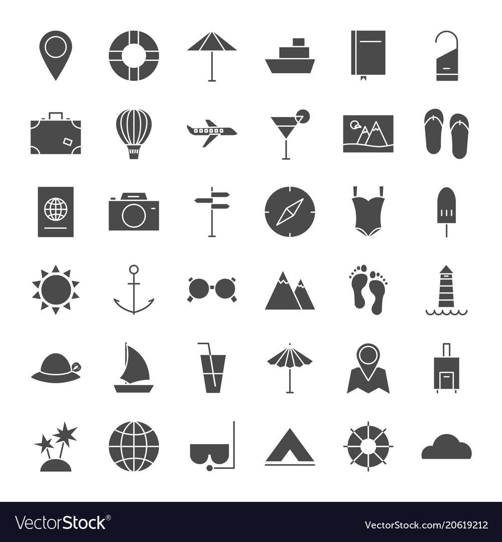 Travel solid web icons