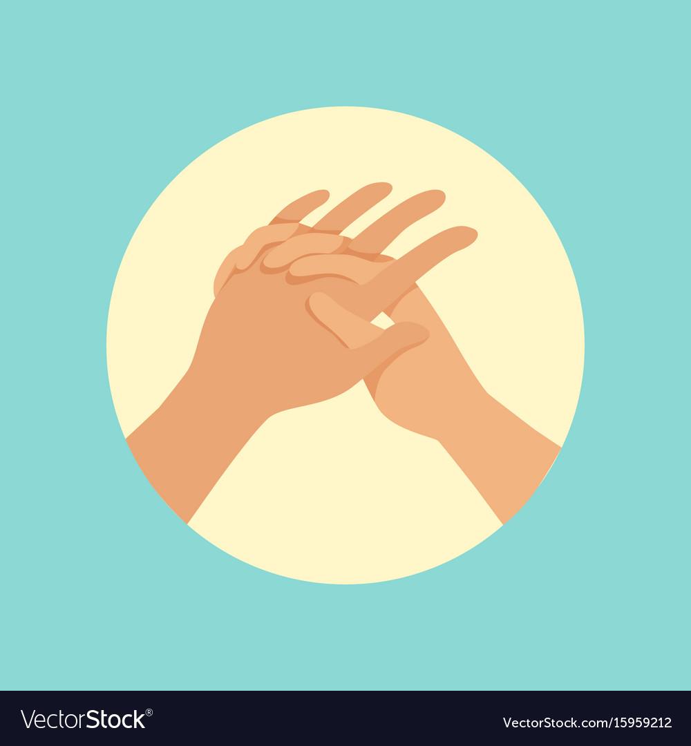 Washing hands procedure round vector image