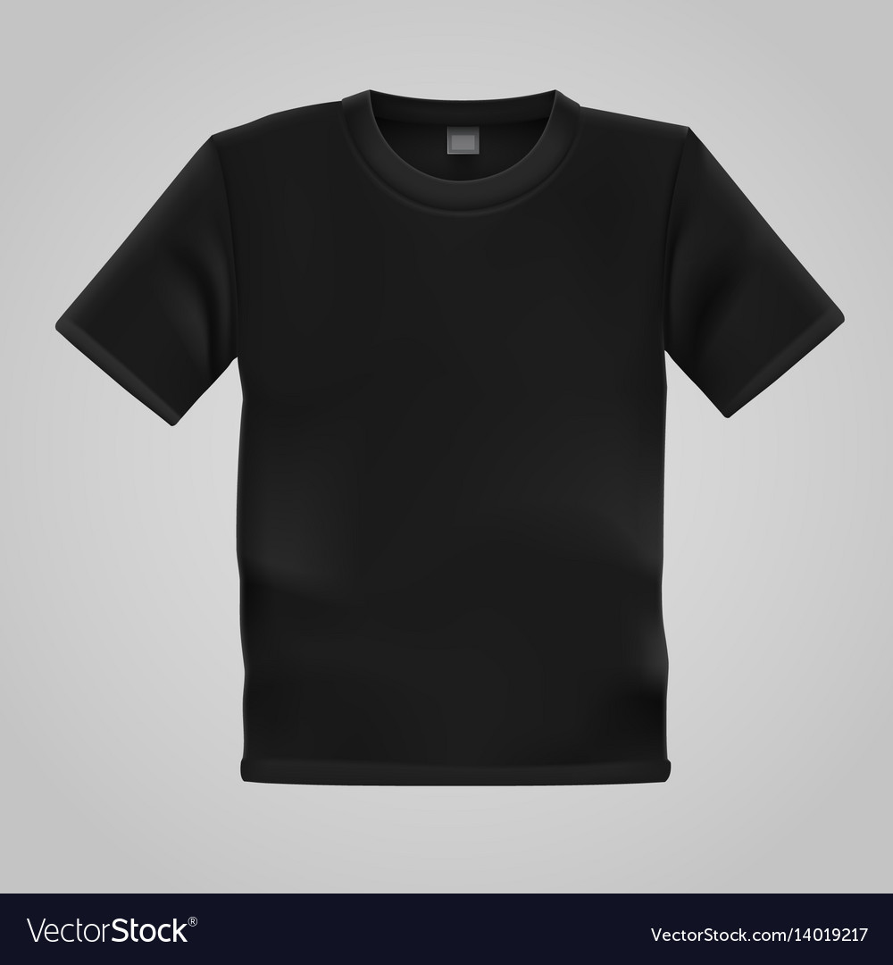 Black T Shirt Template Isolated On White Vector Image