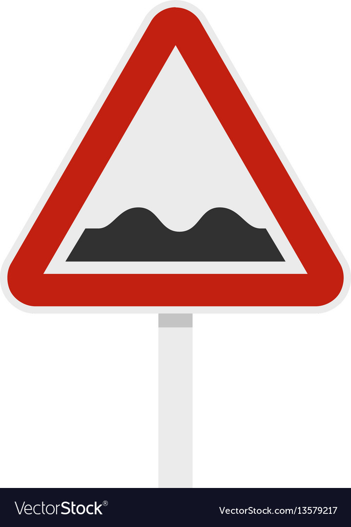 Bumpy road sign icon flat style