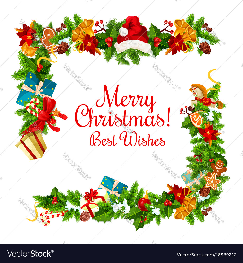 Christmas Card With New Year Garland Frame Corner Vector Image