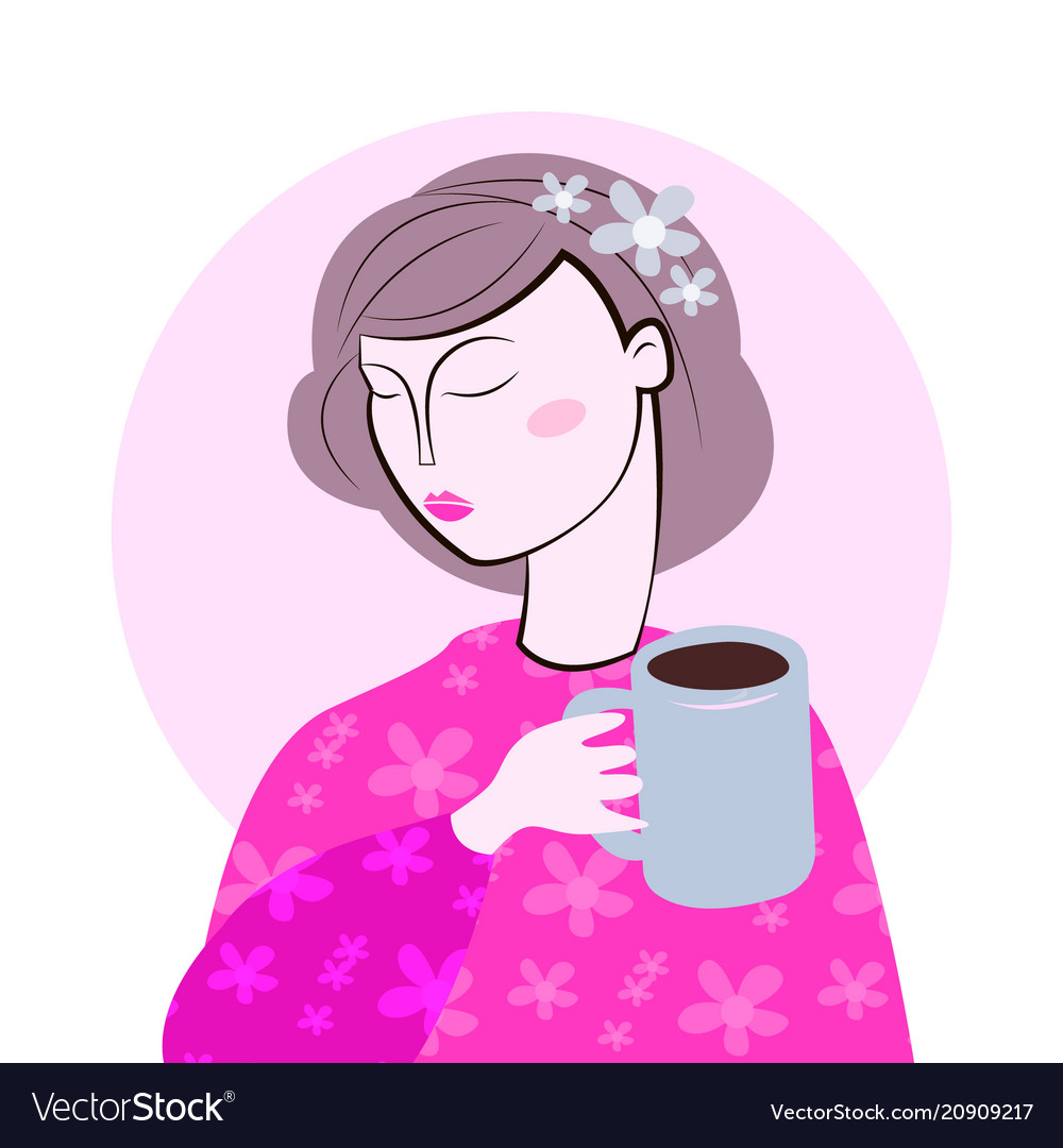 1ac3ccab30c Cute girl in cozy sweaterdrinks hot tasty cups of Vector Image
