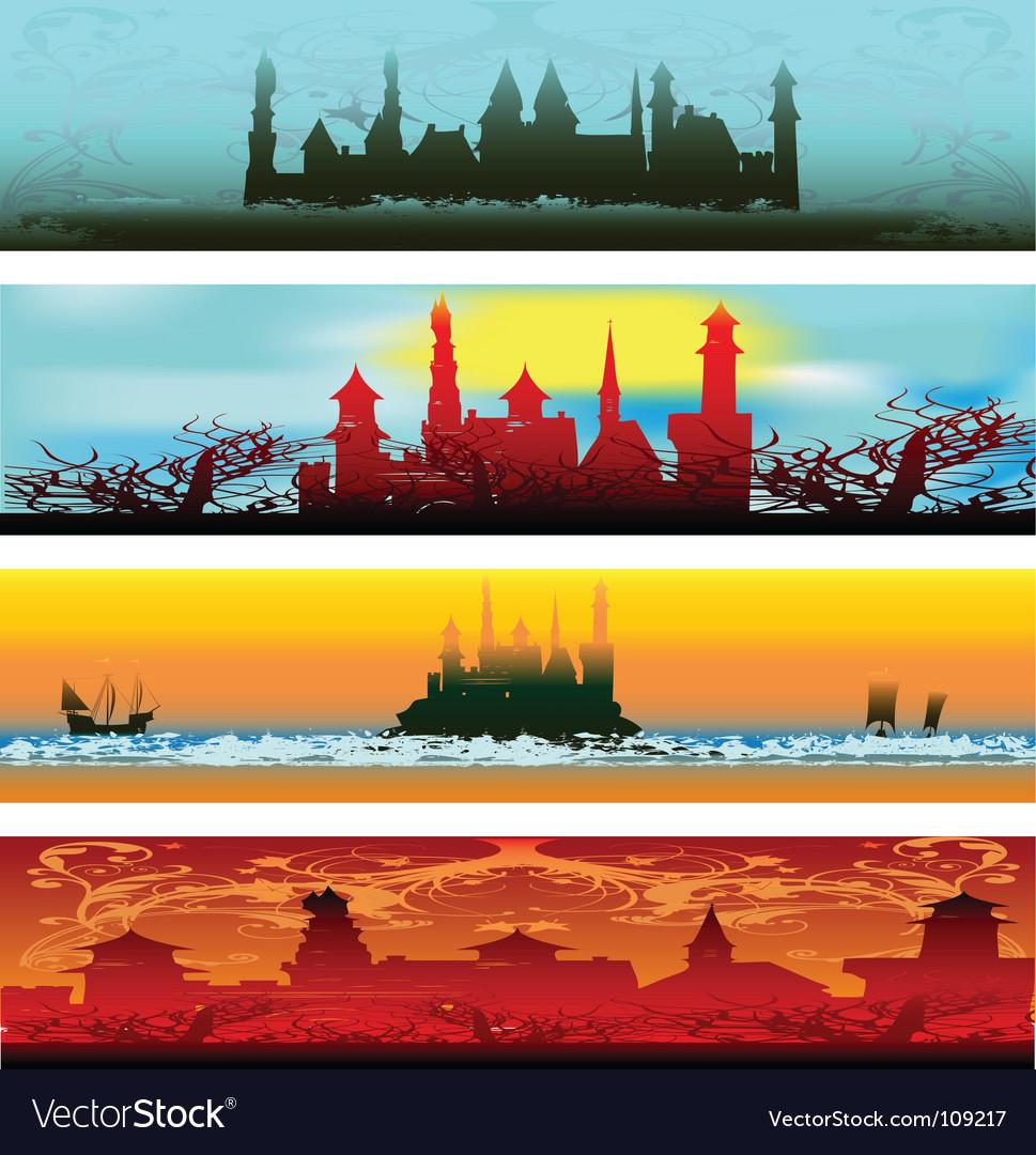 Fairytale castle web banners vector image