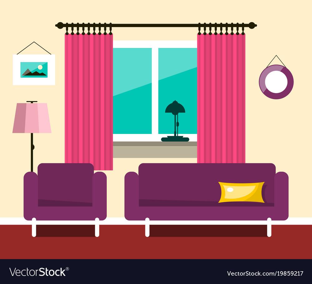 Flat hotel room interior design vector image