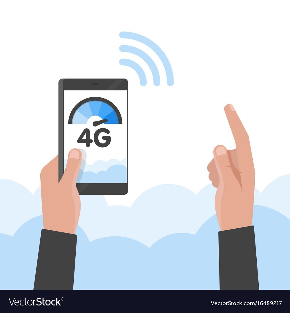 Hand holding phone fast 4g internet technology