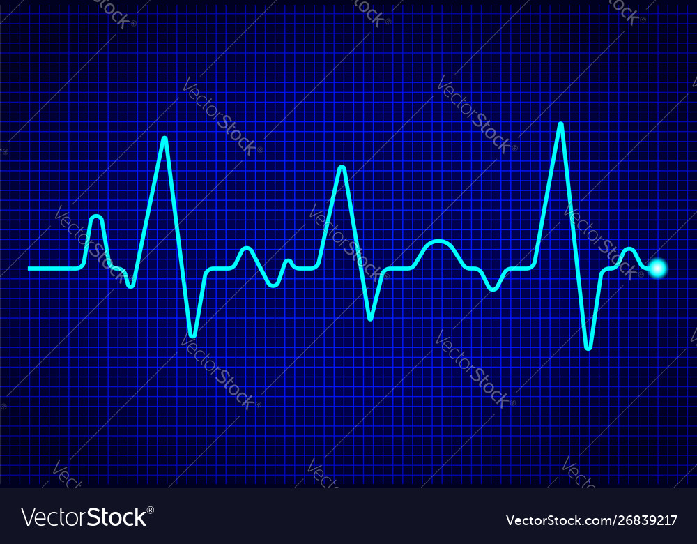 Heart pulse monitor with signal on dark blue