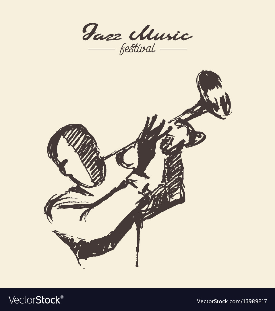 Man playing trumpet vintage drawn