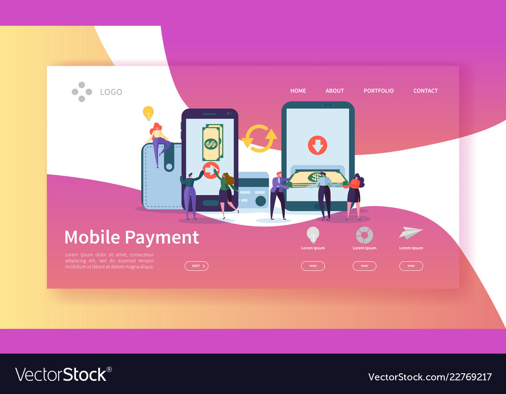 Online banking landing page mobile payment banner