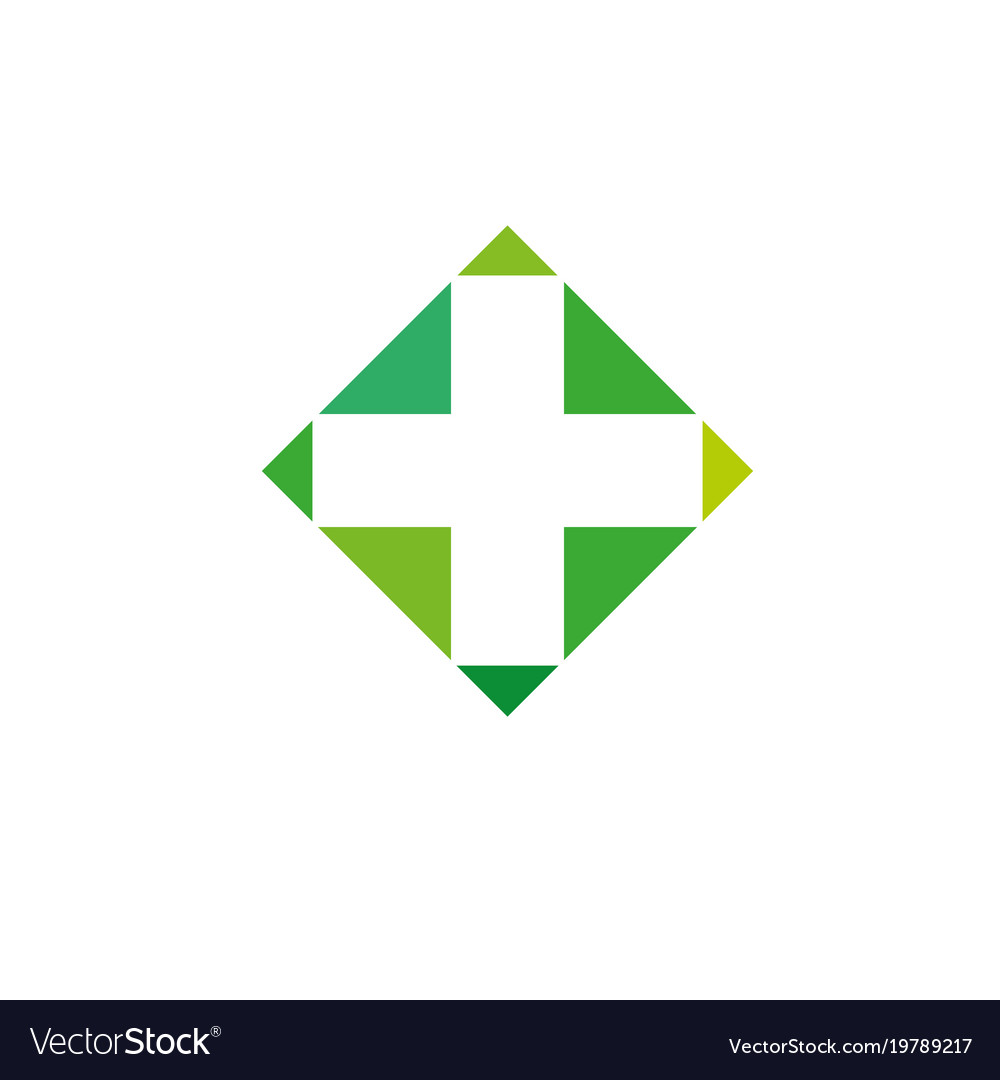 Pharmacy logo medicine green cross abstract