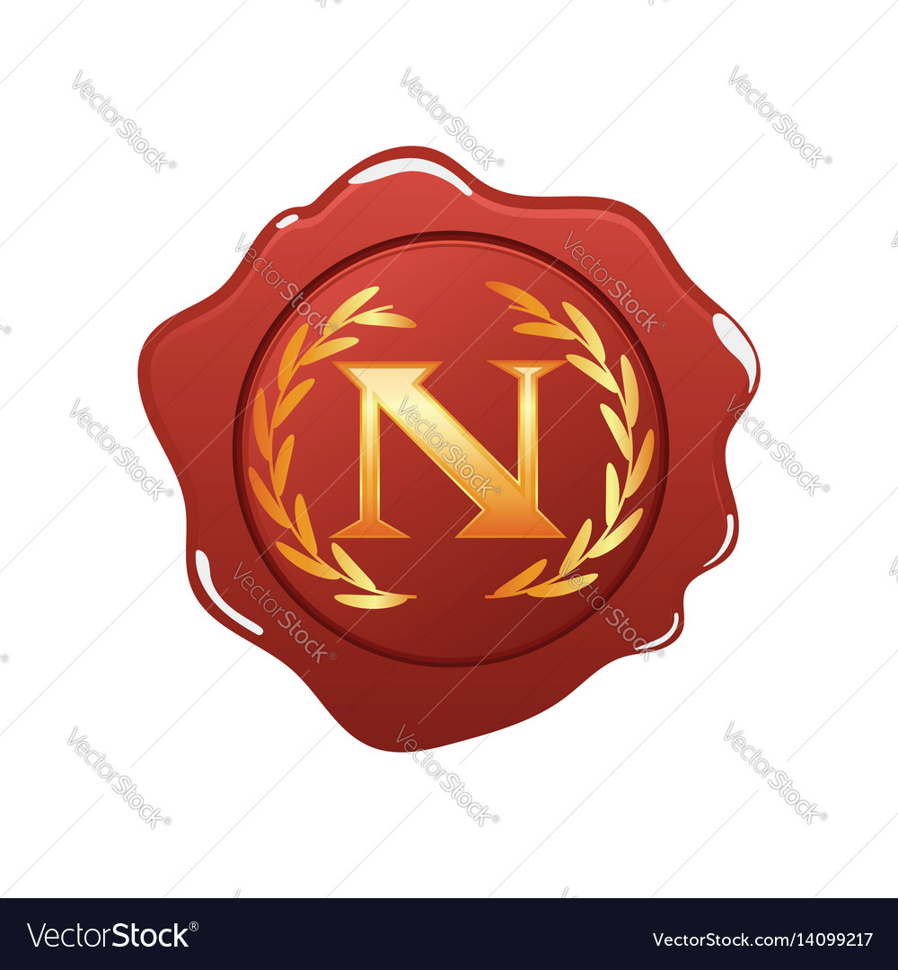 Red wax seal with monogram n isolated on white vector image