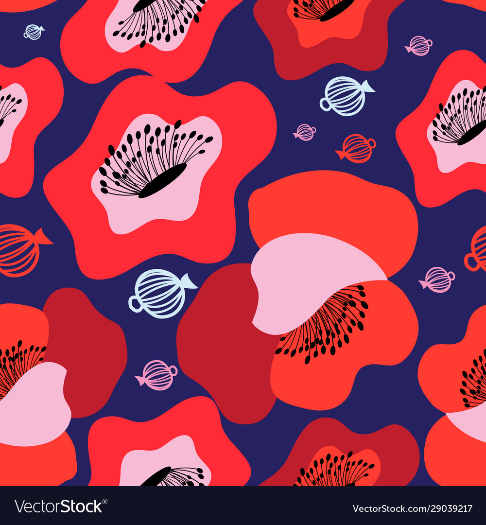Seamless bright pattern red poppies