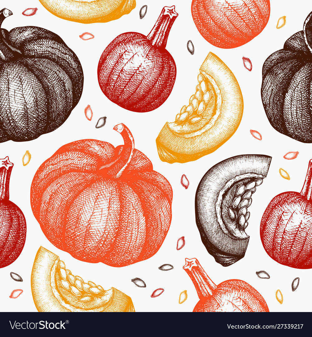 Seamless pattern with hand drawn pumpkins
