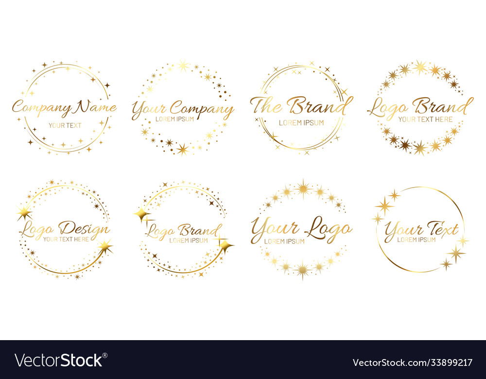 Stardust golden logo set shiny circle frames with