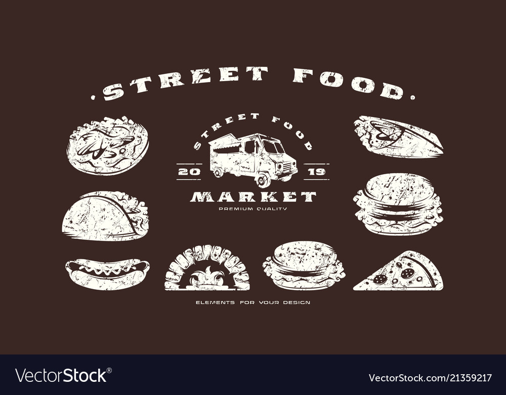 Stock set of fast food icons and elements