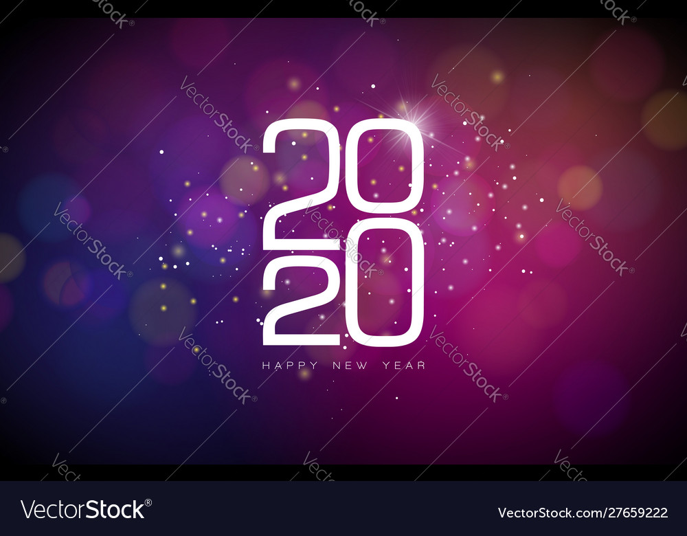 2020 happy new year with white number